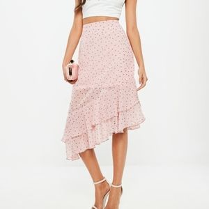 MISSGUIDED Pink Polka Dot Ruffle Wrap Front Skirt